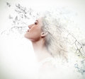 Double Exposure Of Young Woman And Dogwood Flowers Stock Images - 88676824