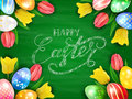 Eggs With Tulips And Happy Easter On Green Chalkboard Background Stock Images - 88678614