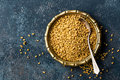 Fenugreek Seeds On Metal Plate, Spice, Culinary Ingredient Stock Photography - 88680072