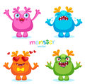 Cute Cartoon Colorful Monsters Emotions, Happy, Angry, Crying And Love. Stock Photography - 88684152