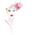 Abstract Watercolor Portrait Girl, Floral Hat Pink Stock Images - 88686824
