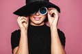 Female Model With Hat And Stylish Sunglasses Stock Photography - 88706942
