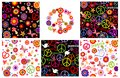 Set Of Hippie Wrappers With Peace Symbols, Heart Shape, Flowers And Doves Royalty Free Stock Image - 88738196