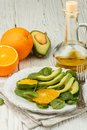 Organic Avocado And Spinach Salad With Orange Royalty Free Stock Photo - 88748375