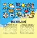 Beach Holidays Information List Vector Illustration. Summer Attribute Icons Stock Images - 88753684
