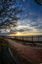 Sunset Bench Path At Mobile Bay Royalty Free Stock Images - 88760959