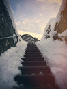 Photo Of The Stairs In The Winter On The Wonderful Mountains Bac Stock Images - 88762194