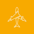 Icon Of Transparent Airplane, Plane On Orange Background Vector Illustration. Stock Images - 88762484