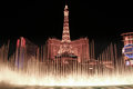 : Night View Of The Dancing Fountains Of Bellagio And The Eiffel Tower Replica Royalty Free Stock Photography - 88770727