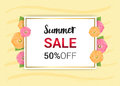 Summer Flowers Frame Or Summer Floral Design On Yellow Backgroun Royalty Free Stock Photos - 88771978
