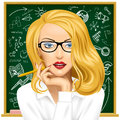 Blonde Business Woman In Glasses Near The Blackboard Royalty Free Stock Images - 88815619