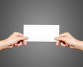 Hands Holding Blank Brochure Booklet In The Hand. Leaflet Presentation Royalty Free Stock Photo - 88819665