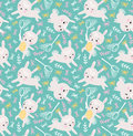 Childish Seamless Pattern With Rabbits, Butterflies And Lawn. Vector Illustration. Stock Photo - 88820870