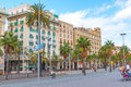 Warm Late Afternoon, Street View Of Barcelona, Spain. Royalty Free Stock Image - 88821206