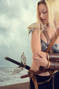 Woman Warrior By The Ocean On Beach Royalty Free Stock Photography - 88822377