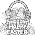 Happy Easter. Black And White Doodle Easter Eggs In The Basket. Coloring Book For Adults For Relax And Meditation. Vector Isolated Royalty Free Stock Photos - 88825958
