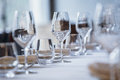 Empty Glasses In Restaurant. Cutlery On The Table In A Restaurant Table Setting, Knife, Fork, Spoon, Interior. Stock Photography - 88830482