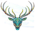 Patterned Head Of The Deer On The Grunge Background. Royalty Free Stock Image - 88838196
