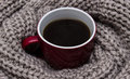 Cup Of Coffee Wrapped In Scarf Royalty Free Stock Photo - 88838535