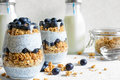 Chia Pudding Or Yogurt Parfait With Blueberries, Granola And Chia Seeds Stock Photo - 88841540
