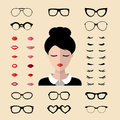Vector Set Of Dress Up Constructor With Different Woman Eyelashes,glasses,lips In Flat Style. Female Faces Icon Creator. Stock Photo - 88847210