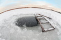 Ice Hole For Winter Swimming With Wooden Stair And Shovel. Wide Angle View Stock Image - 88852971