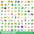 100 Spring Icons Set, Isometric 3d Style Royalty Free Stock Photography - 88857357