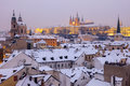 Winter In Prague - City Panorama With St. Vitus Cathedral And St Stock Photography - 88861392