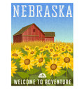 Nebraska Travel Poster. Sunflowers In Front Of Old Red Barn. Royalty Free Stock Image - 88870256
