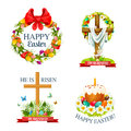 Vector Paschal Easter Isolated Icons Set Stock Photo - 88870420