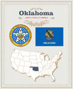 High Detailed Vector Set With Flag, Coat Of Arms Oklahoma. American Poster. Greeting Card Stock Photography - 88877892