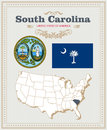 High Detailed Vector Set With Flag, Coat Of Arms South Carolina. American Poster. Greeting Card Royalty Free Stock Photos - 88878568