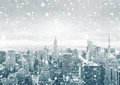 New York City Skyline During A Snowstorm Royalty Free Stock Photo - 88887795