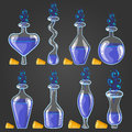 Set Bottles Of Potion With Magic Smoke Stock Photos - 88891113