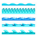 Seamless Blue Water Wave Vector Bands Set For Footers, Patterns And Textures Stock Images - 88892534