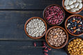 Assortment Of Beans On Wooden Background. Soybean, Red Kidney Be Royalty Free Stock Photos - 88905898