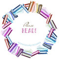 Wreath, Circle Frame Border With Watercolor Books Stock Photos - 88907313