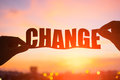 Silhouette Of Change Word Stock Photography - 88908482