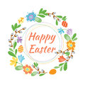 Happy Easter Hand Drawn Badge With Hand Lettering Greeting Decoration Element And Natural Wreath Handmade Style Vintage Royalty Free Stock Image - 88909686