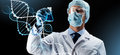Scientist In Mask Holding Flask With Chemical Stock Image - 88910121