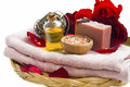 Spa Beauty Roses Products With Natural Soap, Massage Oil, Salt, Stock Photos - 88925073