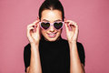 Stylish Young Woman Posing With Funky Shades Stock Photos - 88925643