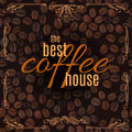 Vector The Best Coffee House Lettering With Doodle Frame On Coffee Pattern Background Royalty Free Stock Photography - 88926147