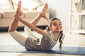 Little Girl Doing Yoga Stock Photography - 88946772