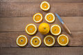 Overhead Of Oranges Forming A Triangle Shape Royalty Free Stock Images - 88955229