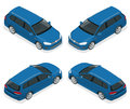 5-door Hatchback Car Isolated. Vector Isometric Icons Set. Template On White Background. The Ability To Easily Change Royalty Free Stock Photo - 88978245
