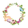 Easter Wreath With Easter Bunny, Colored Eggs In Grass, Flowers. Circle Border. Watercolor Stock Photography - 88986092