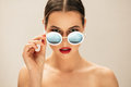 Fashion Woman Peeking Over Sunglasses Royalty Free Stock Images - 88997419