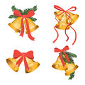 Golden Christmas Bells Holiday Collection With Green Tree Branches And Red Bow Ribbon Isolated On White Background. Gold Royalty Free Stock Image - 89002086