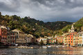 View On Porttofino Town With Color Architecture, Located Between Mountains In Italian Liguria, Italy Royalty Free Stock Photo - 89021695